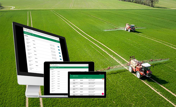 Through a Web browser to manage the field and work. AgriBus-Web